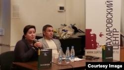 Владимир Переверзин и Ольга Романова на презентации книги
