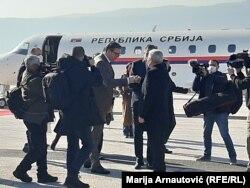 Članovi Predsjedništva BiH Šefik Džaferović i Milorad Dodik dočekali predsjednika Srbije Aleksandra Vučića na Aerodromu Sarajevo, 2. mart, 2021.