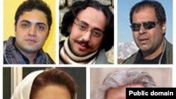 تعدادی از سینماگرانی که اواخر شهریورماه بازداشت شدند- ردیف بالا از راست:مجتبی میرطهماسب، هادی آفریده، محسن شهرنازدار ردیف پایین: ناصر صفاریان، کتایون شهابی