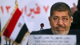 Egyptian President Muhammad Morsi at the OIC summit in Cairo on February 6