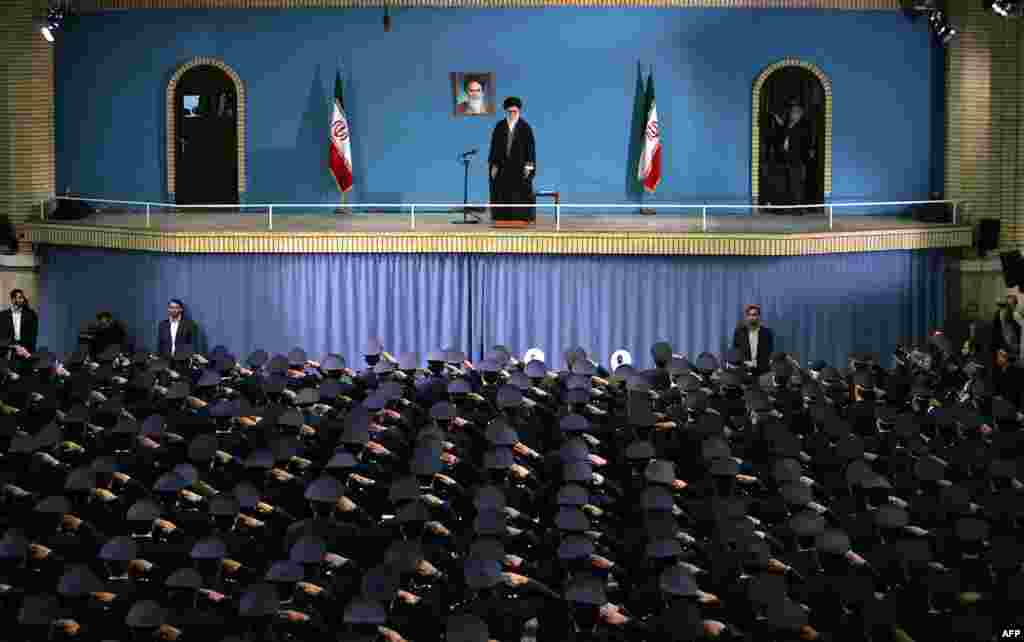 Iranian Air Force commanders salute Supreme Leader Ayatollah Ali Khamenei during a meeting in Tehran. (AFP/Khamenei website)