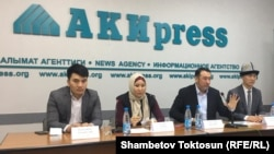 "The Noor political party and its founder, Myktybek Arstanbek (third from left), have been courting controversy recently with their promotion of ""religious and traditional"" values."