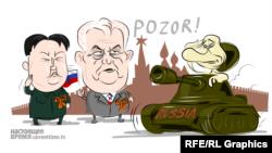 tanks milos zeman russia parade putin caricature