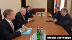 Armenia - President Armen Sarkissian (R) meets with the co-chairs of the OSCE Minsk Group in Yerevan, 14 June 2018.