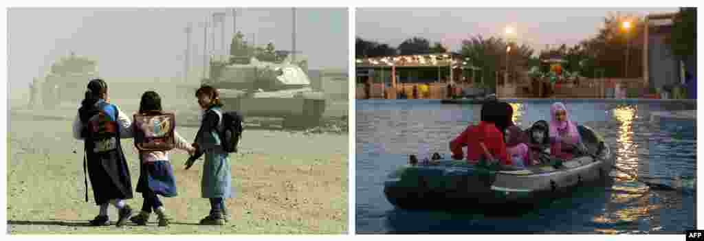 Left: Schoolgirls walk past U.S. tanks on November 5, 2003, in the Baghdad suburb of Abu Ghraib. Right: Women and kids ride in a rubber dinghy at an amusement park on February 4, 2013.