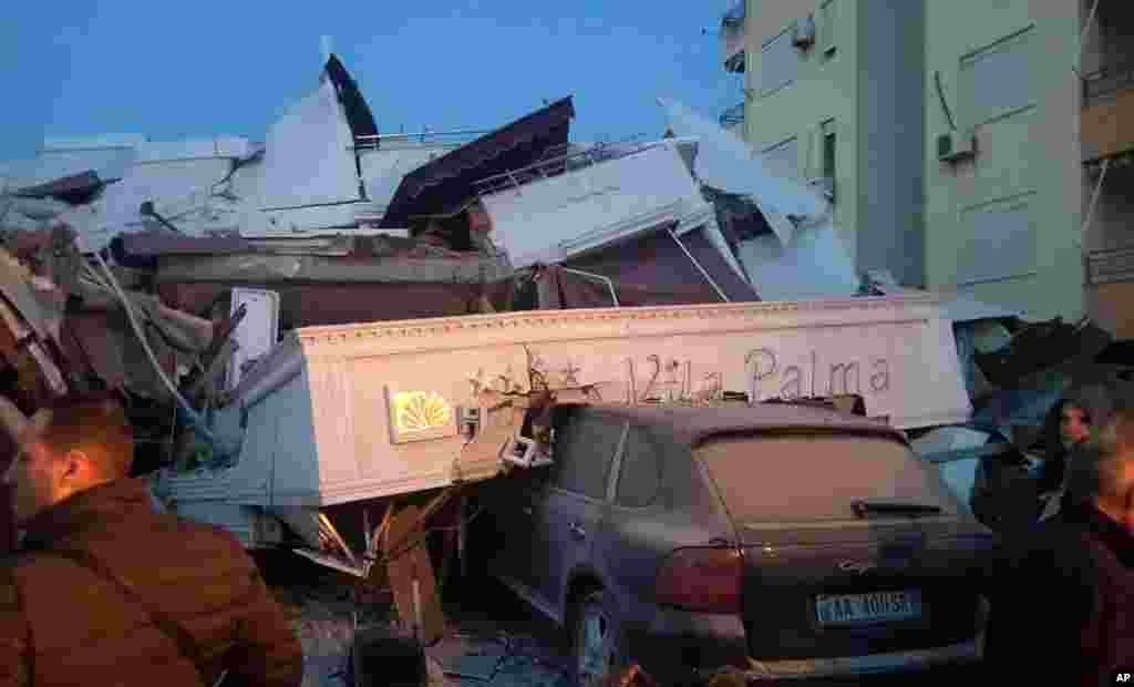 A crushed car in Durres, Albania's second-most populous city.