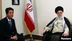 Iran's Supreme Leader Ayatollah Ali Khamenei meets with Japan's Prime Minister Shinzo Abe in Tehran, Iran June 13, 2019