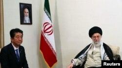 IRAN -- Iran's Supreme Leader Ayatollah Ali Khamenei meets with Japan's Prime Minister Shinzo Abe in Tehran, Iran June 13, 2019