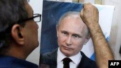 Иракский художник Мохаммед Карим Нихая написал портрет Владимира Путина