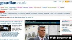 """Faqja e gazetës """"The Guardian"""" ku është publikuar shkrimi..."""