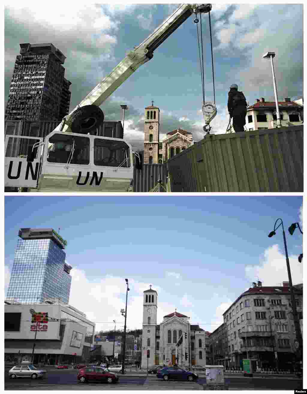A UN peacekeeper stands in front of the damaged United Investment and Trading Company towers and an Orthodox church in Sarajevo in March 1993. The renovated towers on April 1, 2012.