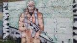 Американский солдат среди березок – граффити в Севастополе