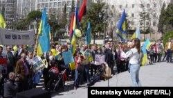 В Мадриде украинская диаспора выступила в поддержку Киева, 15 марта 2014 г. Фото Виктора Черецкого