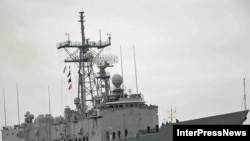 "The ""USS John L. Hall"" anchored at the Black Sea port of Batumi on March 1."