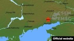 Епіцентр землетрусу, згідно з даними сайту Європейсько-середземноморського сейсмологічного центру