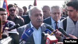 Armenia -- Parliament deputy Sasun Mikayelian speaks to journalists, Yerevan, October 27, 2019.