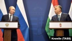 Imagine de la conferința de presă a lui Vladimir Putin și Viktor Orban, la Budapesta, de la finalul lunii octombrie