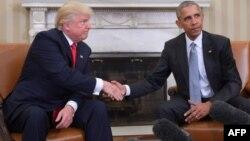 ԱՄՆ նախագահ Բարաք Օբաման Սպիտակ տանը ընդունում է նոյեմբերի 8-ի նախագահական ընտրություններում հաղթած Դոնալդ Թրամփին, Վաշինգտոն, 10-ը նոյեմբերի, 2016թ․
