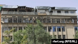 The damage caused by a suicide attack on August 22 in Kabul.