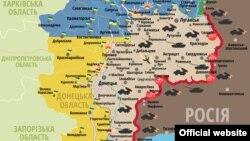 Мапа сытуацыі на Данбасе