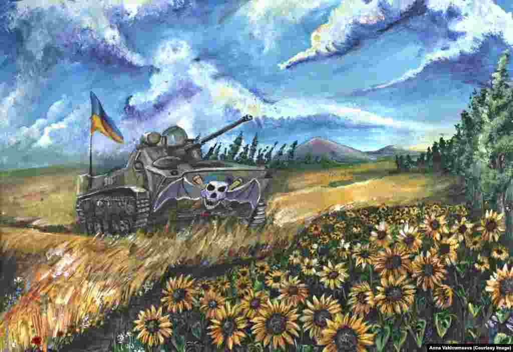 """""""Ukrainian Summer.""""Varkhameyeva says: """"In my paintings, I want to show what war and occupation are. I want to show how someone with different views, who loves Ukraine, lives under such conditions. And most importantly, I want to remind people that Donetsk is Ukraine."""""""