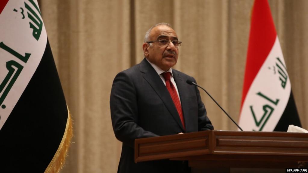 عادل عبدالمهدی در حال سخنرانی در پارلمان عراق در اکتبر ۲۰۱۸