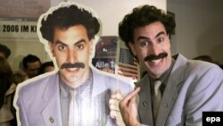 "Comedian Sacha Baron Cohen at the German premiere of his film ""Borat"" in 2006"