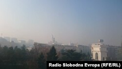Скопје во ден кога загадувањето на воздухот е неколкупати зголемено над дозволеното.
