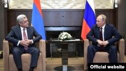 Встреча президентов России и Армении - Владимира Путина и Сержа Саргсяна (слева), Сочи, 23 августа 2017 г.