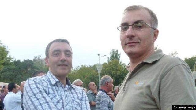 Armenia -- Civil activists Haykak Arshamian (R) and Suren Saghatelian attend a demonstration in Yerevan.