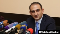 Armenia - Vartan Harutiunian, head of the State Revenue Committee, holds a news conference in Yerevan, 29Dec2016.