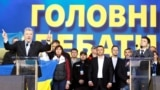 Kiev, Ukraine - Ukraine's President and presidential candidate Petro Poroshenko, comedian Volodymyr Zelenskiy / Ukraine's President and presidential candidate Petro Poroshenko attends a policy debate with his rival, comedian Volodymyr Zelenskiy, at the Na