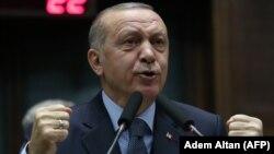 Թուրքիայի նախագահ Ռեջեփ Էրդողանը ելույթ է ունենում իր «Արդարություն և զարգացում» կուսակցության խորհրդարանական խմբակցության հետ հանդիպմանը, Անկարա, 8-ը հունվարի, 2019թ․