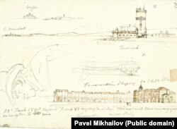 A page from Mikhailov's sketch pad showing snippets of the port of Lisbon, one of the last stops the expedition made before returning home to Russia.