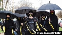 Women march on the outskirts of Minsk in remembrance of Chernobyl on April 26.