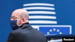 претседателот на Европскиот совет Шарл Мишел, Брисел, 10.12.2020.