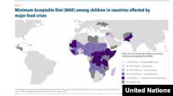 Minél lilábban jelölt az adott ország, arányaiban annál kevesebb 6-23 hónapos kisgyerek jut hozzá a minimálisan szükséges táplálékmennyiséghez. A legsötétebb lila jelölésnél ez azt jelenti, hogy tízből legalább kilenc gyerek nem jut hozzá ehhez a mennyiséghez