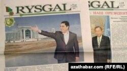"""""""Türkmenistanyň Senagatçylar we telekeçiler birleşmesiniň agzalarynyň"""" esaslandyrmagynda neşir edilýän """"Rysgal"""" gazeti."""