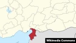 استان هاتای (به رنگ قرمز) که شعر ریحانلی -هدف بمبگذاری روز گذشته- در آن قرار دارد، در مرز با سوریه است