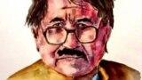 Afghanistan: Portrait of veteran Pashtun poet Rahmat Shah Sail by Artist Handullah Arbab