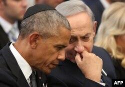 Barack Obama și Benjamin Netanyahu la funeraliile de la ierusalim