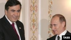 Путин и Саакашвили в 2008 году