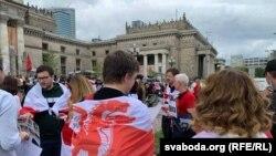 Varșovia. Manifestație în sprijinul opoziției din Belarus, Polonia, 8 august 2021.