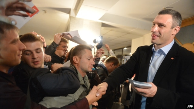WBC heavyweight boxing champion-turned-politician Vitali Klitschko puts in some face time with prospective voters in mid-October.