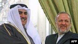 منوچهر متکی، وزیر امور خارجه ایران، و شیخ خالد آلخلیفه وزیر امور خارجه بحرین