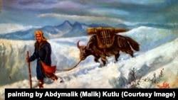 Памирлик кыргыз топозу менен, Малик Кутлу тарткан сүрөт, 1990-ж.