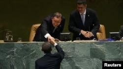 Генералниот секретар на ОН, Бан Ки Мун и американскиот претседател Барак Обама.