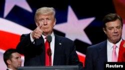 Дональд Трамп и Пол Манафорт во время президентской кампании. Кливленд, 21 июля 2016 года