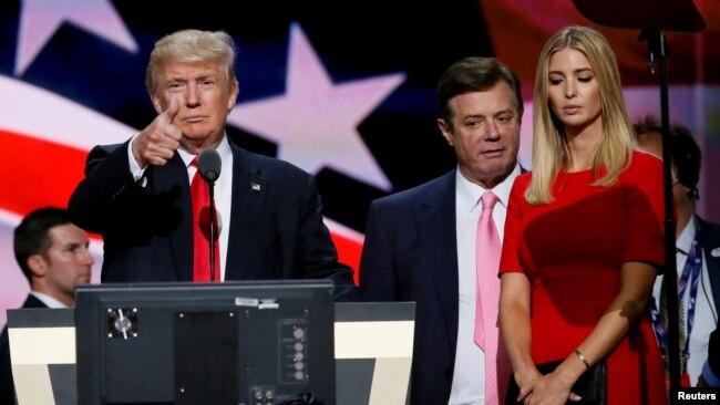 Donald Trump, Paul Manafort dhe Ivanka Trump.