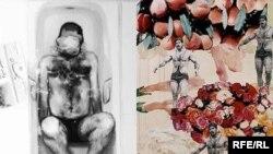دو اثر از آثار به نمایش درآمده در نمایشگاه «بدنهای ایرانی»: «رستم در اواخر تابستان» (راست) از فریدون آو و «حمام» از میترا فراهانی